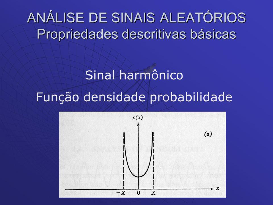 ANÁLISE DE SINAIS ALEATÓRIOS Propriedades descritivas básicas Sinal harmônico Função densidade probabilidade