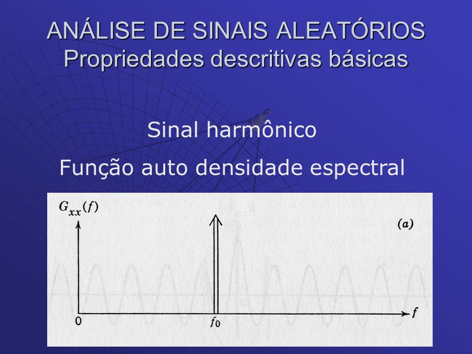 ANÁLISE DE SINAIS ALEATÓRIOS Propriedades descritivas básicas Sinal harmônico Função auto densidade espectral