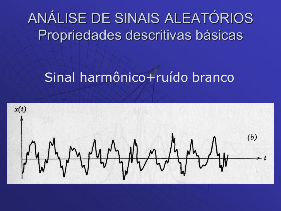 ANÁLISE DE SINAIS ALEATÓRIOS Propriedades descritivas básicas Sinal harmônico+ruído branco
