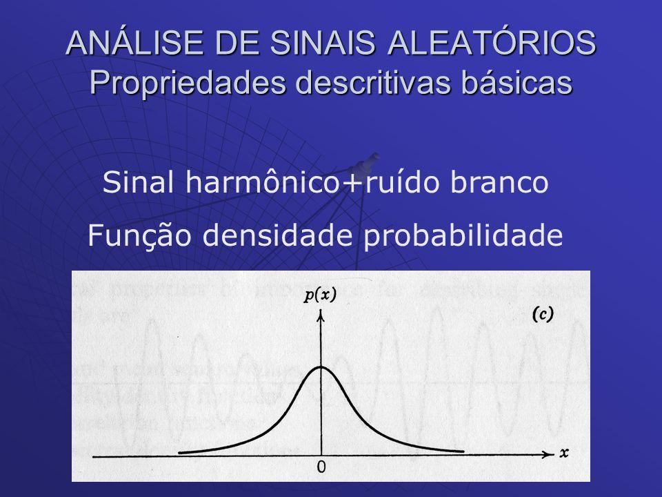 ANÁLISE DE SINAIS ALEATÓRIOS Propriedades descritivas básicas Sinal harmônico+ruído branco Função densidade probabilidade