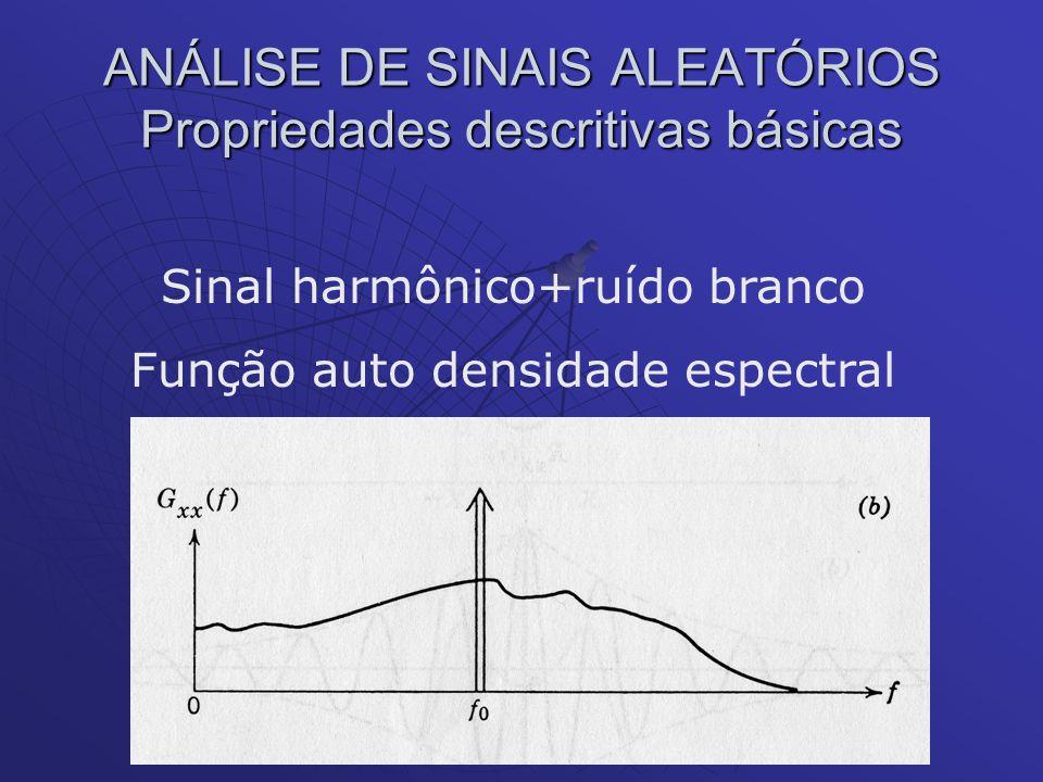 ANÁLISE DE SINAIS ALEATÓRIOS Propriedades descritivas básicas Sinal harmônico+ruído branco Função auto densidade espectral