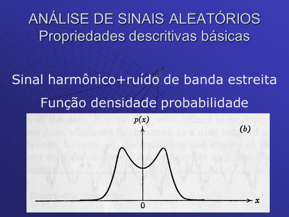 ANÁLISE DE SINAIS ALEATÓRIOS Propriedades descritivas básicas Sinal harmônico+ruído de banda estreita Função densidade probabilidade