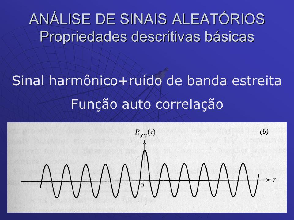 ANÁLISE DE SINAIS ALEATÓRIOS Propriedades descritivas básicas Sinal harmônico+ruído de banda estreita Função auto correlação