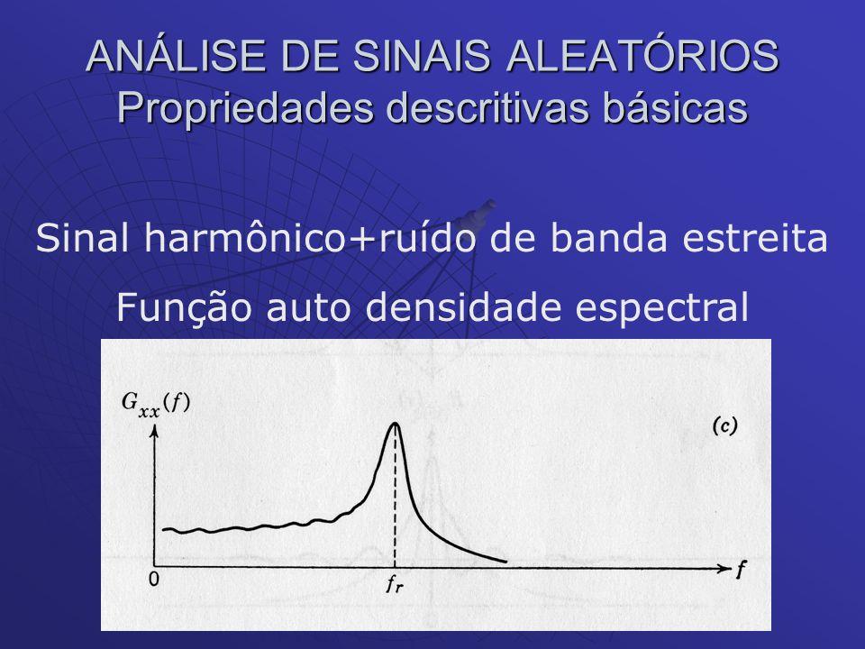 ANÁLISE DE SINAIS ALEATÓRIOS Propriedades descritivas básicas Sinal harmônico+ruído de banda estreita Função auto densidade espectral