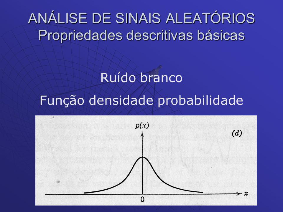 ANÁLISE DE SINAIS ALEATÓRIOS Propriedades descritivas básicas Ruído branco Função densidade probabilidade