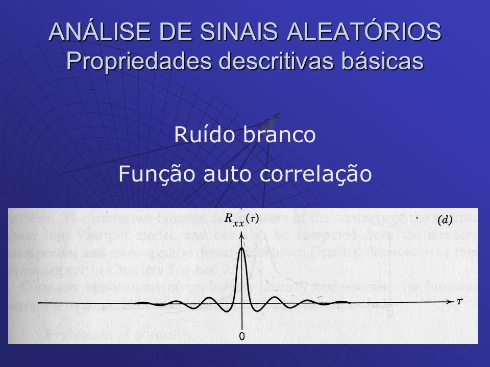 ANÁLISE DE SINAIS ALEATÓRIOS Propriedades descritivas básicas Ruído branco Função auto correlação