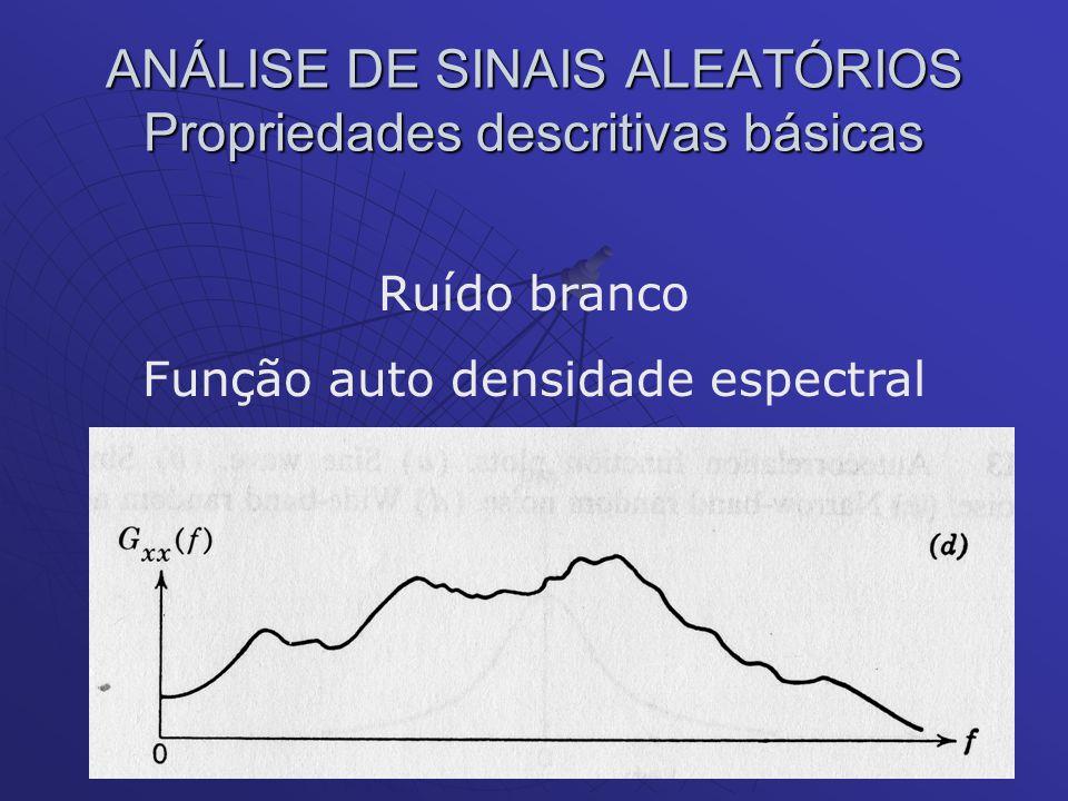 ANÁLISE DE SINAIS ALEATÓRIOS Propriedades descritivas básicas Ruído branco Função auto densidade espectral