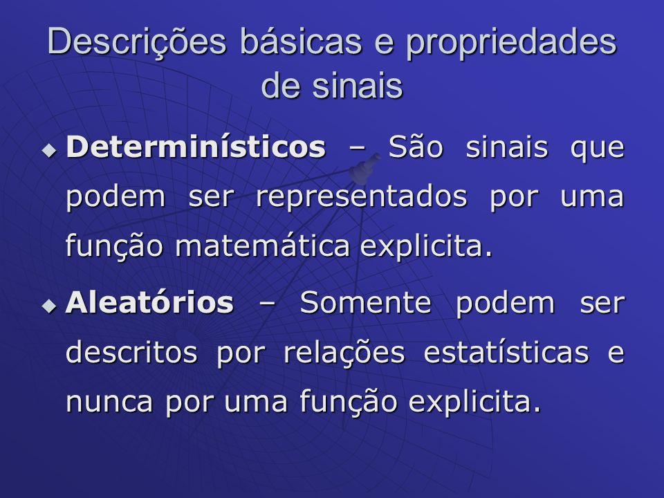 Descrições básicas e propriedades de sinais Determinísticos – São sinais que podem ser representados por uma função matemática explicita. Determinísti