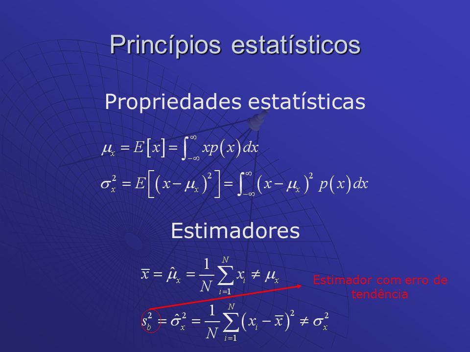 Princípios estatísticos Estimadores Propriedades estatísticas Estimador com erro de tendência