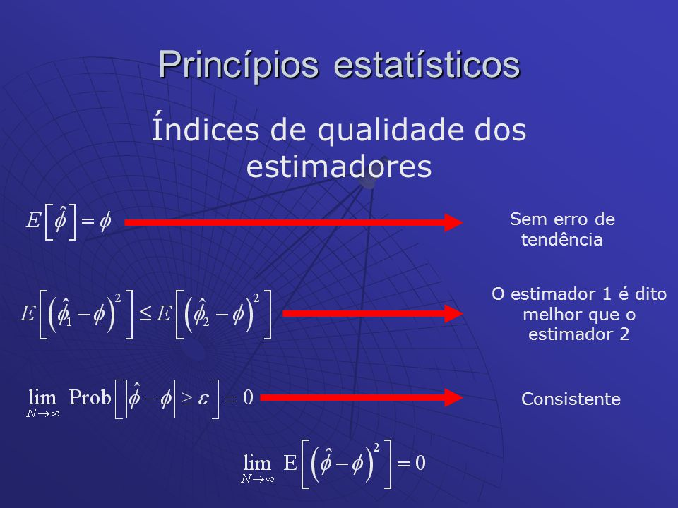 Princípios estatísticos Índices de qualidade dos estimadores Sem erro de tendência O estimador 1 é dito melhor que o estimador 2 Consistente