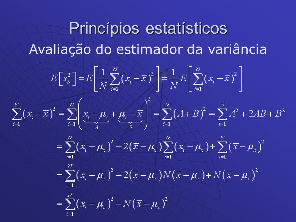 Princípios estatísticos Avaliação do estimador da variância