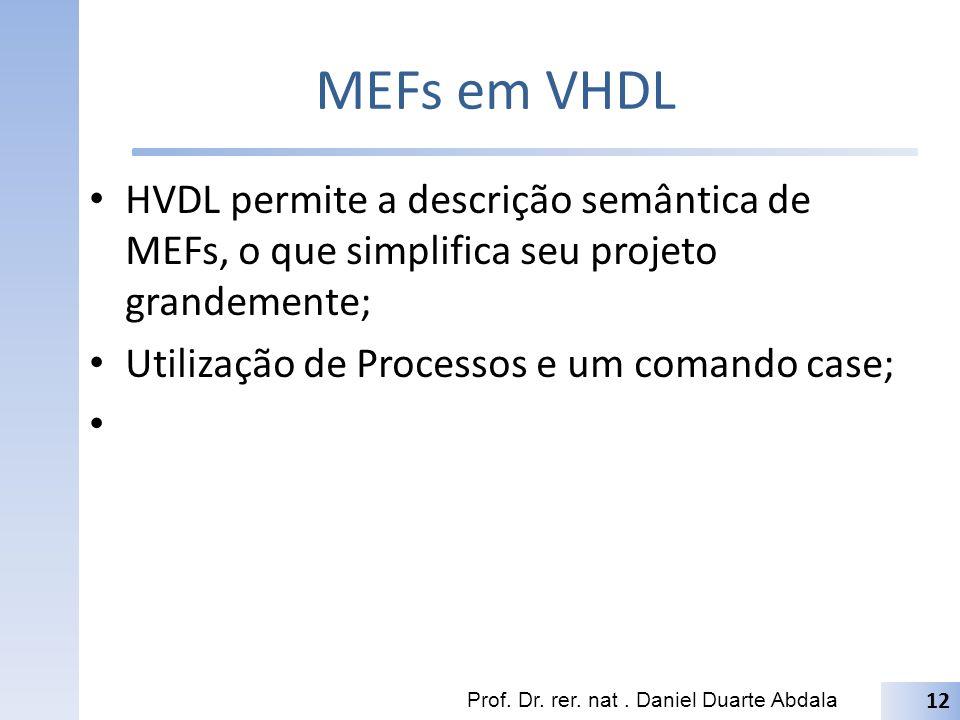 MEFs em VHDL HVDL permite a descrição semântica de MEFs, o que simplifica seu projeto grandemente; Utilização de Processos e um comando case; Prof.