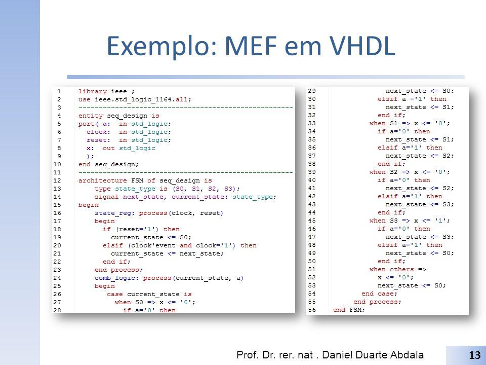 Exemplo: MEF em VHDL Prof. Dr. rer. nat. Daniel Duarte Abdala 13