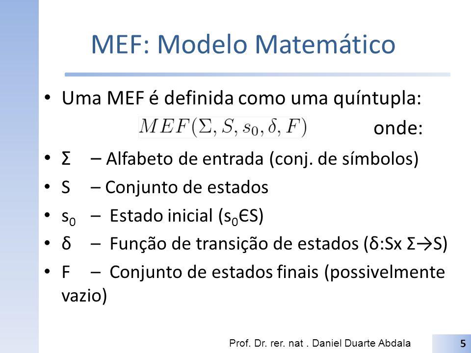 MEF: Modelo Matemático Uma MEF é definida como uma quíntupla: onde: Σ– Alfabeto de entrada (conj.