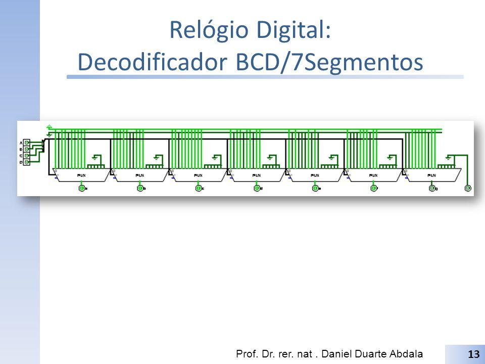 Relógio Digital: Decodificador BCD/7Segmentos Prof. Dr. rer. nat. Daniel Duarte Abdala 13