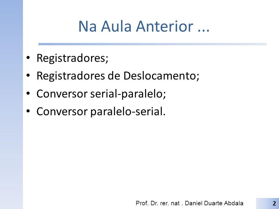 Na Aula Anterior... Registradores; Registradores de Deslocamento; Conversor serial-paralelo; Conversor paralelo-serial. Prof. Dr. rer. nat. Daniel Dua