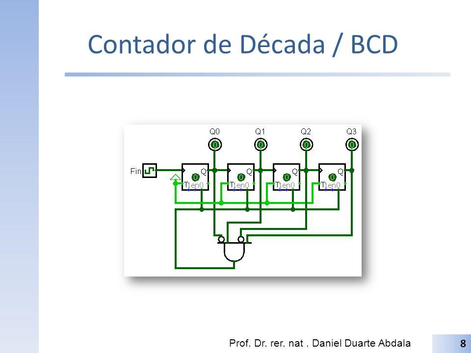 Contador BCD Lógica Combinacional para controlar a contagem até 10; Capturar este sinal e ativar o sinal de clear.