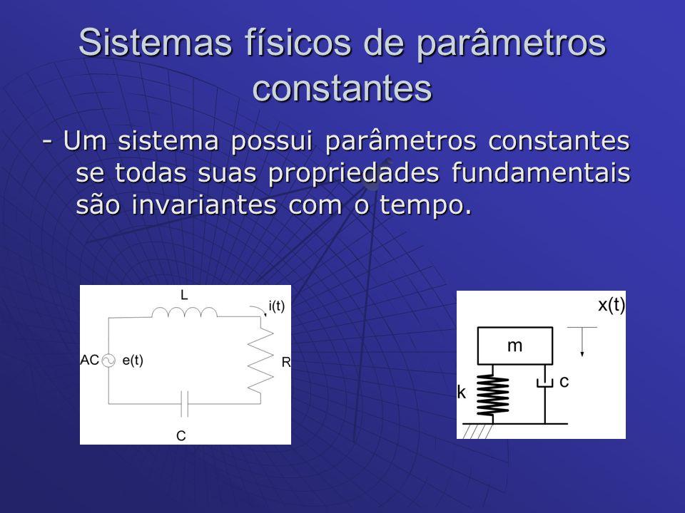 Sistemas físicos de parâmetros constantes - Um sistema possui parâmetros constantes se todas suas propriedades fundamentais são invariantes com o temp