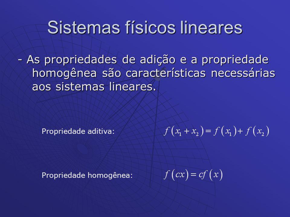 Sistemas físicos lineares - As propriedades de adição e a propriedade homogênea são características necessárias aos sistemas lineares. Propriedade adi
