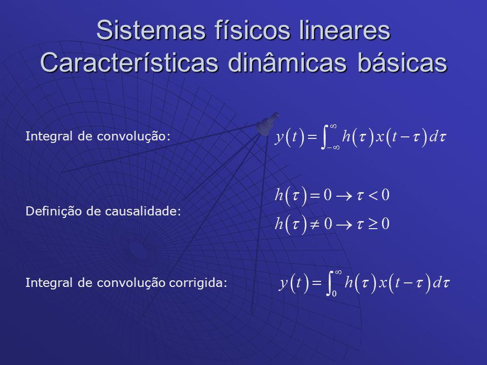 Sistemas físicos lineares Características dinâmicas básicas Integral de convolução: Definição de causalidade: Integral de convolução corrigida: