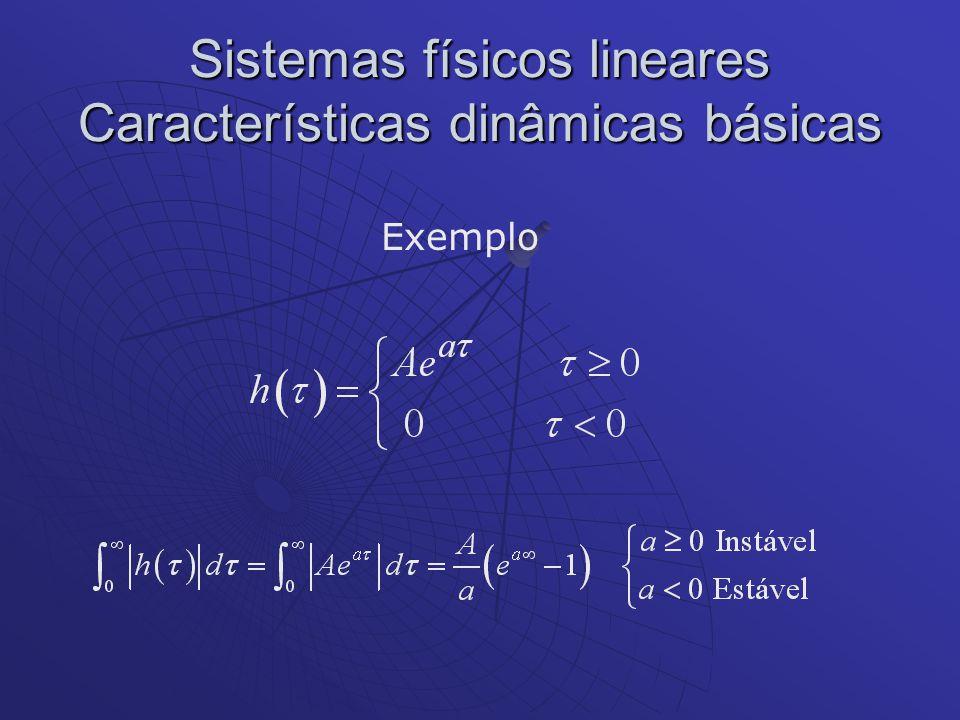 Sistemas físicos lineares Características dinâmicas básicas Exemplo