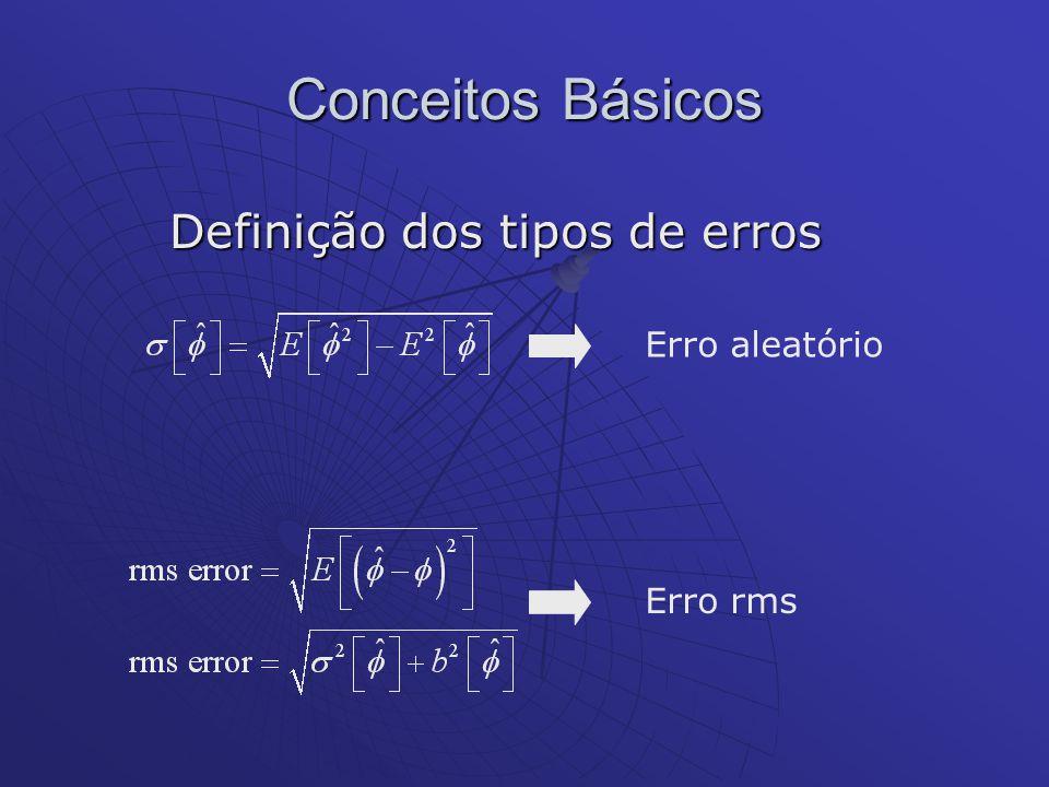 Conceitos Básicos Definição dos tipos de erros Erro aleatório normalizado Erro de tendência normalizado Erro RMS normalizado