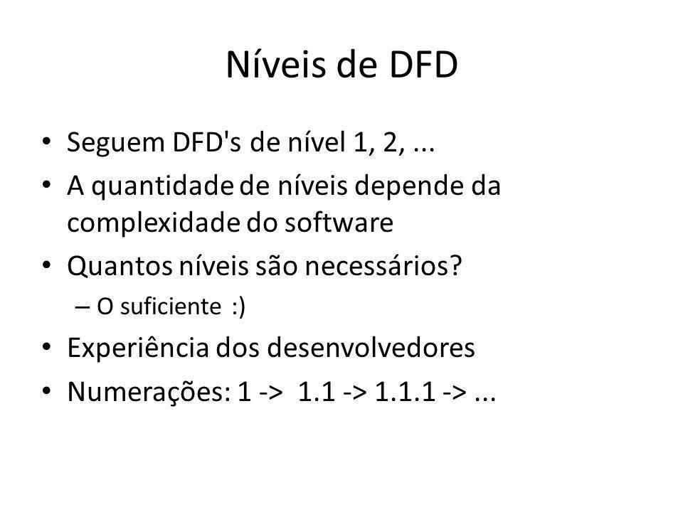 Níveis de DFD Seguem DFD's de nível 1, 2,... A quantidade de níveis depende da complexidade do software Quantos níveis são necessários? – O suficiente