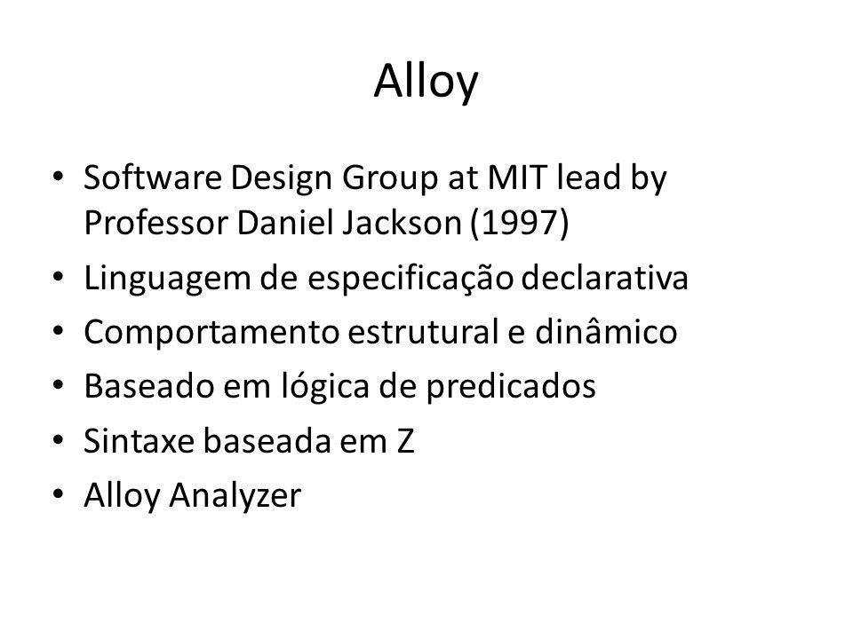 Alloy Software Design Group at MIT lead by Professor Daniel Jackson (1997) Linguagem de especificação declarativa Comportamento estrutural e dinâmico