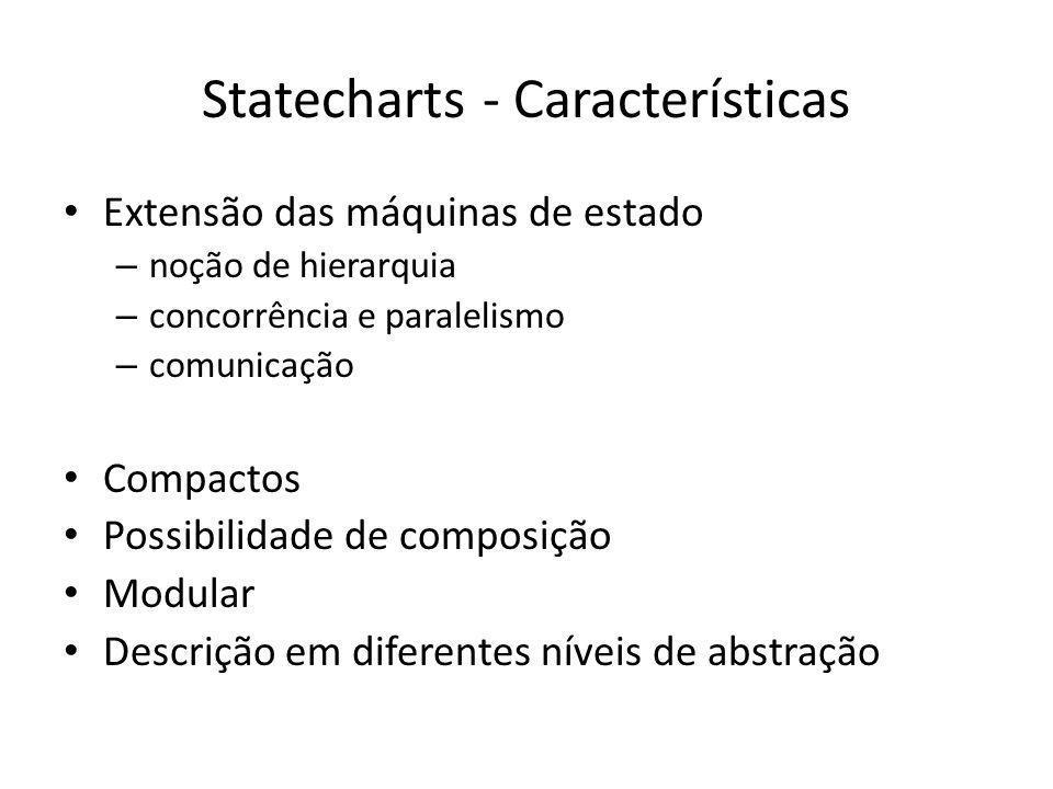 Statecharts - Características Extensão das máquinas de estado – noção de hierarquia – concorrência e paralelismo – comunicação Compactos Possibilidade