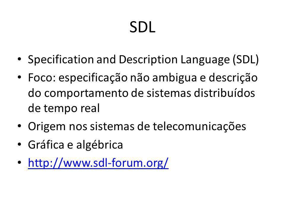 SDL Specification and Description Language (SDL) Foco: especificação não ambigua e descrição do comportamento de sistemas distribuídos de tempo real O