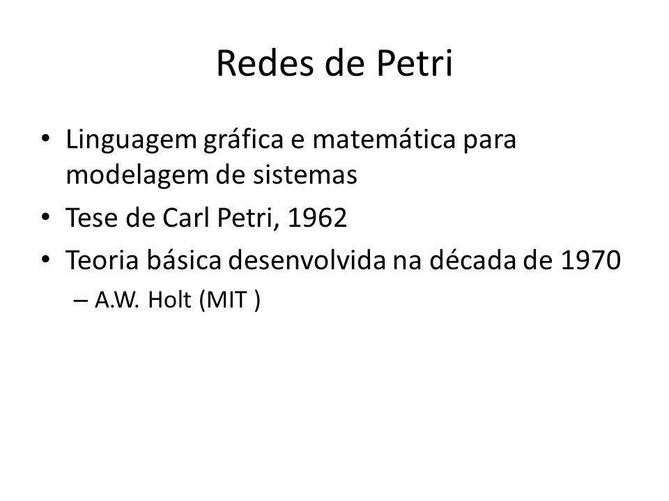 Redes de Petri Linguagem gráfica e matemática para modelagem de sistemas Tese de Carl Petri, 1962 Teoria básica desenvolvida na década de 1970 – A.W.