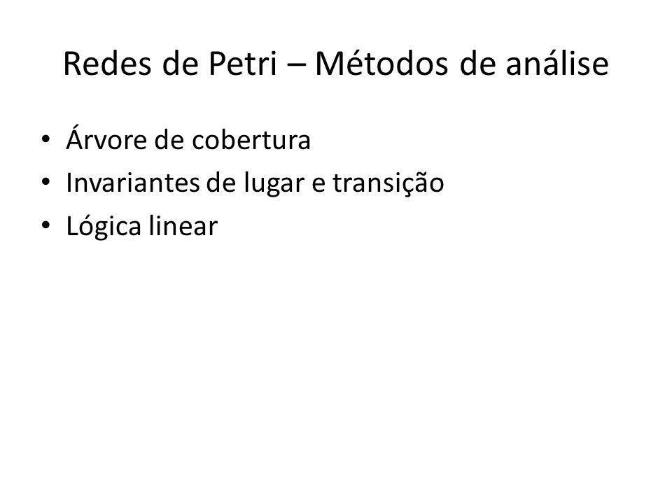 Redes de Petri – Métodos de análise Árvore de cobertura Invariantes de lugar e transição Lógica linear