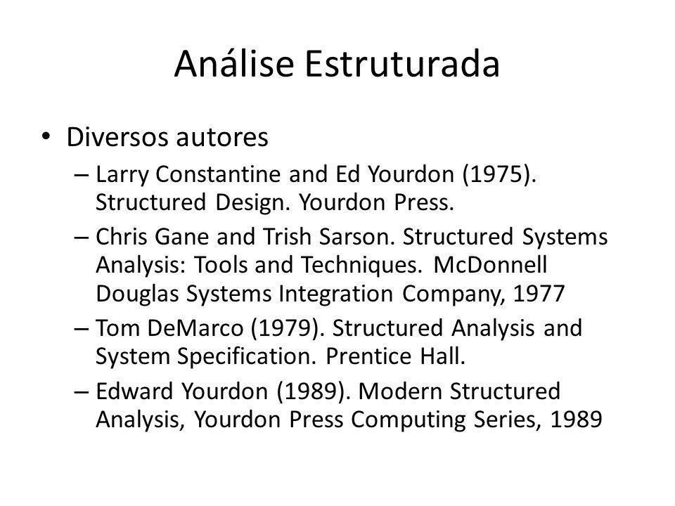 Análise Estruturada Diversos autores – Larry Constantine and Ed Yourdon (1975). Structured Design. Yourdon Press. – Chris Gane and Trish Sarson. Struc