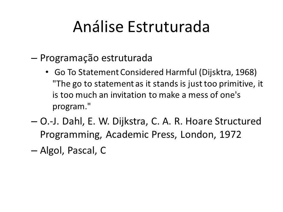 Análise Estruturada – Programação estruturada Go To Statement Considered Harmful (Dijsktra, 1968)