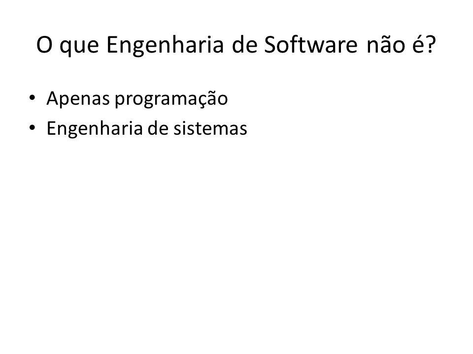 O que Engenharia de Software não é? Apenas programação Engenharia de sistemas