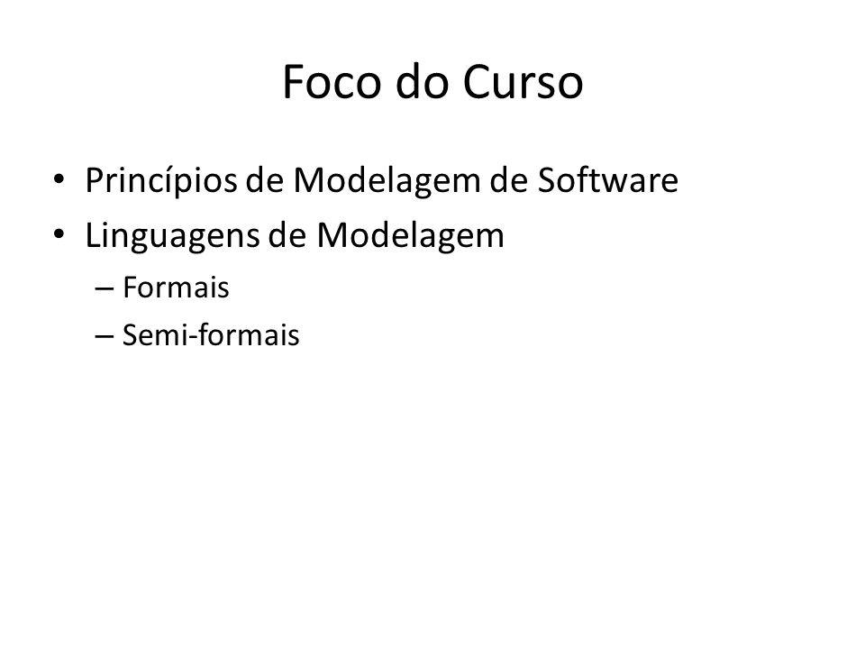 Foco do Curso Princípios de Modelagem de Software Linguagens de Modelagem – Formais – Semi-formais