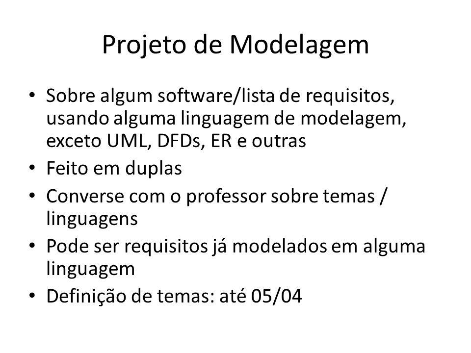 Projeto de Modelagem Sobre algum software/lista de requisitos, usando alguma linguagem de modelagem, exceto UML, DFDs, ER e outras Feito em duplas Con