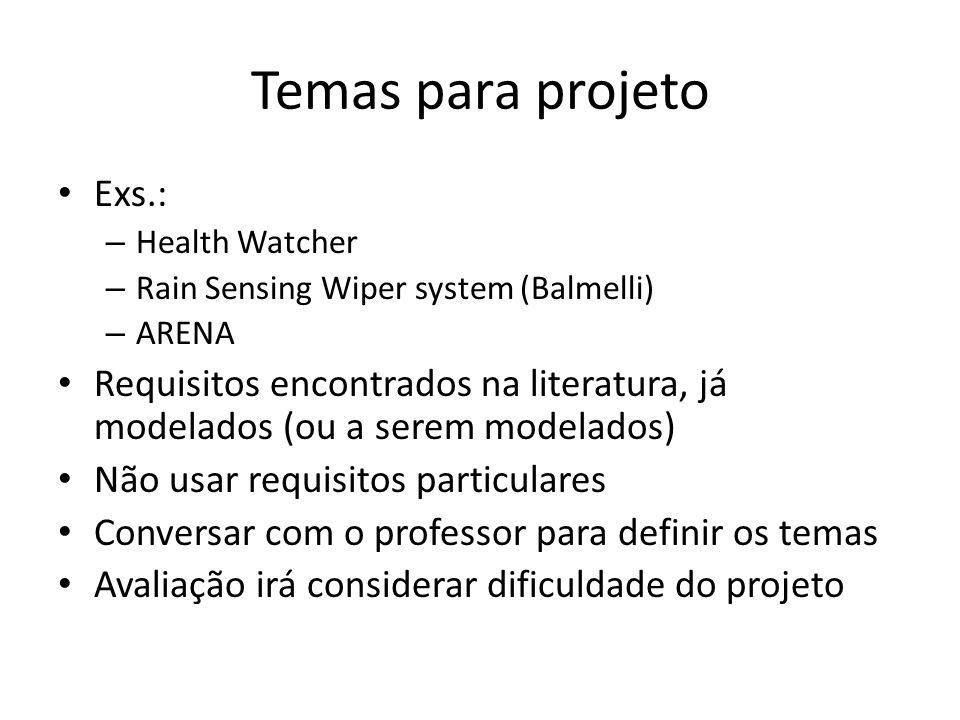 Temas para projeto Exs.: – Health Watcher – Rain Sensing Wiper system (Balmelli) – ARENA Requisitos encontrados na literatura, já modelados (ou a sere