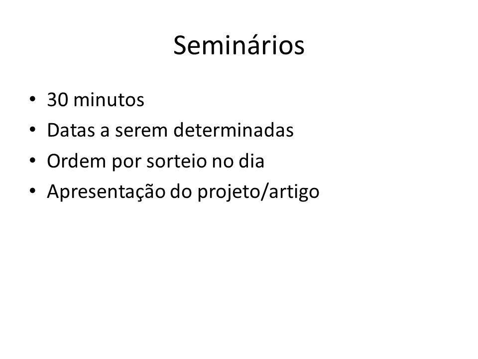Seminários 30 minutos Datas a serem determinadas Ordem por sorteio no dia Apresentação do projeto/artigo