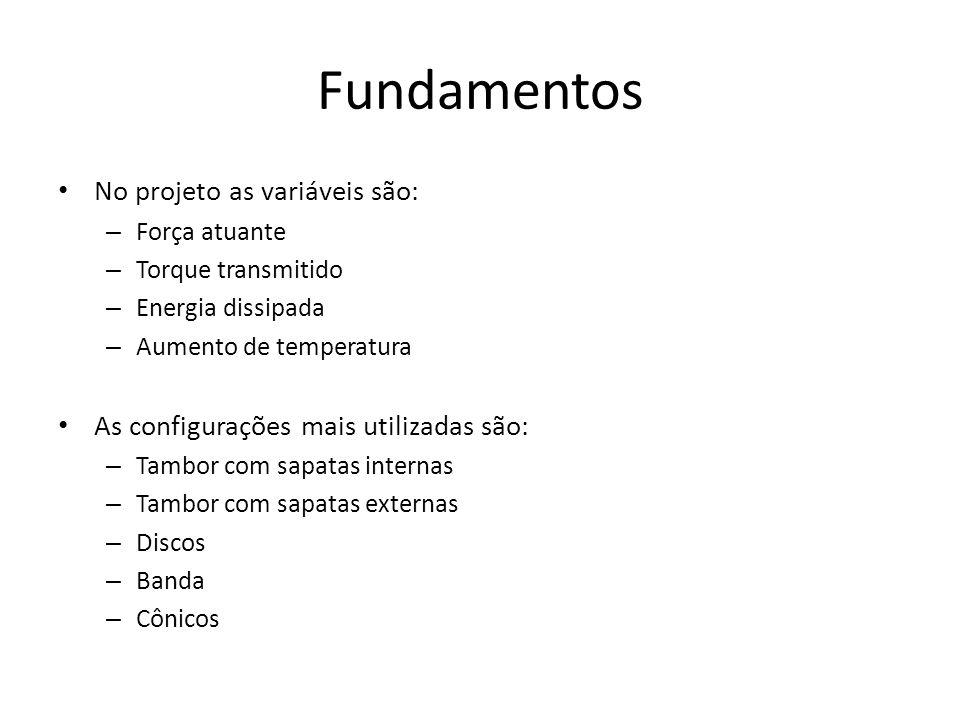 Fundamentos No projeto as variáveis são: – Força atuante – Torque transmitido – Energia dissipada – Aumento de temperatura As configurações mais utili