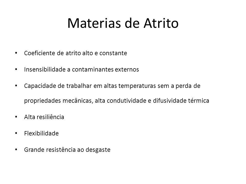 Materias de Atrito Coeficiente de atrito alto e constante Insensibilidade a contaminantes externos Capacidade de trabalhar em altas temperaturas sem a