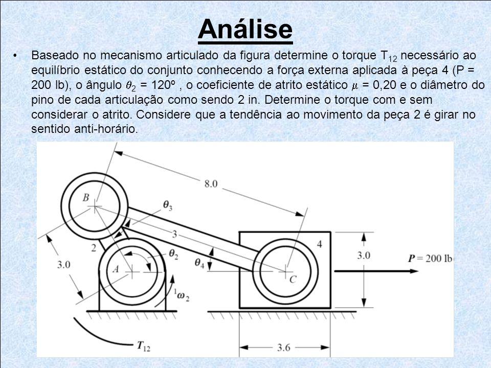 Análise Baseado no mecanismo articulado da figura determine o torque T 12 necessário ao equilíbrio estático do conjunto conhecendo a força externa apl