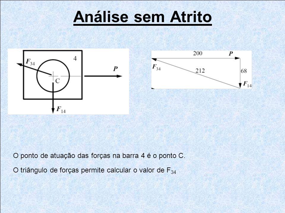 O ponto de atuação das forças na barra 4 é o ponto C. O triângulo de forças permite calcular o valor de F 34