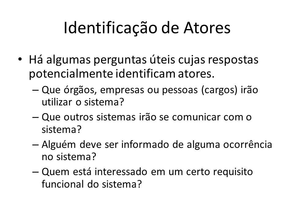 Identificação de Atores Há algumas perguntas úteis cujas respostas potencialmente identificam atores.