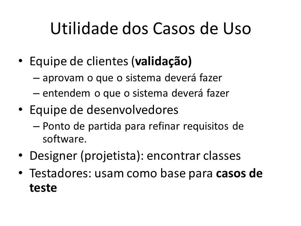 Utilidade dos Casos de Uso Equipe de clientes (validação) – aprovam o que o sistema deverá fazer – entendem o que o sistema deverá fazer Equipe de desenvolvedores – Ponto de partida para refinar requisitos de software.