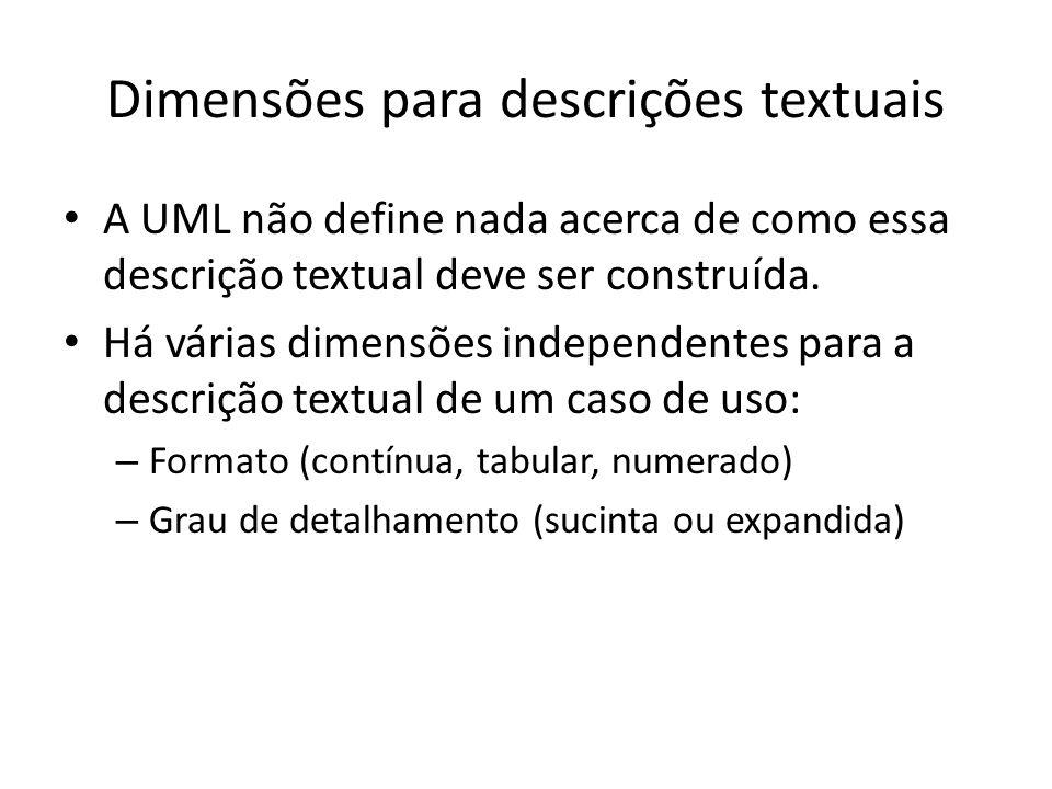 Dimensões para descrições textuais A UML não define nada acerca de como essa descrição textual deve ser construída.