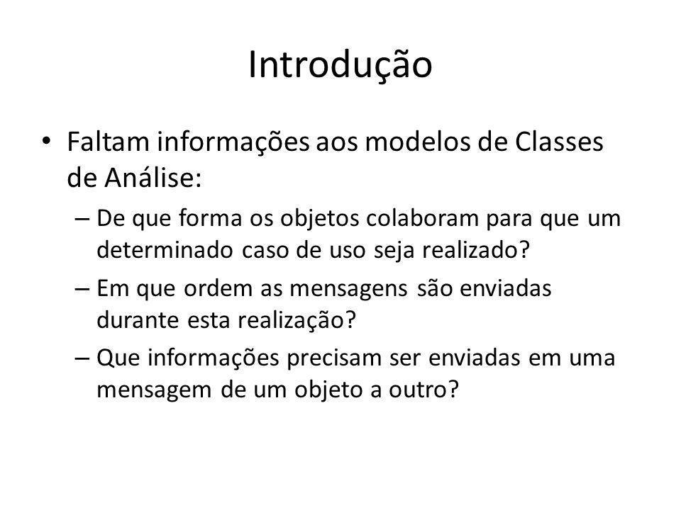 Introdução Faltam informações aos modelos de Classes de Análise: – De que forma os objetos colaboram para que um determinado caso de uso seja realizad