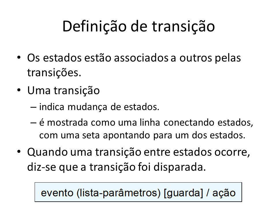 Definição de transição Os estados estão associados a outros pelas transições. Uma transição – indica mudança de estados. – é mostrada como uma linha c