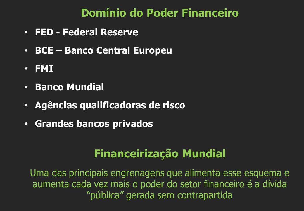 Domínio do Poder Financeiro FED - Federal Reserve BCE – Banco Central Europeu FMI Banco Mundial Agências qualificadoras de risco Grandes bancos privad