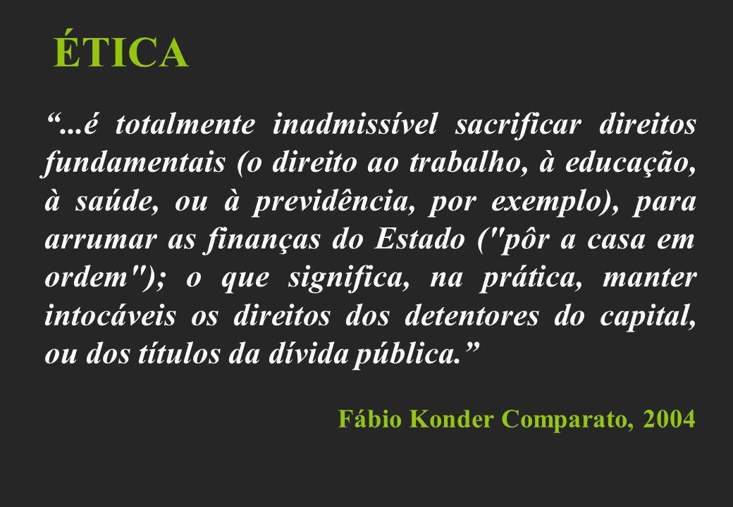 ÉTICA...é totalmente inadmissível sacrificar direitos fundamentais (o direito ao trabalho, à educação, à saúde, ou à previdência, por exemplo), para a